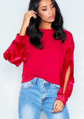 Paige Red Velvet Cut Out Sleeve Jumper