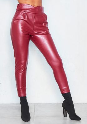 Deserie Wine Cropped PU Trousers