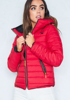 Olivia Red Quilted Puffer Coat