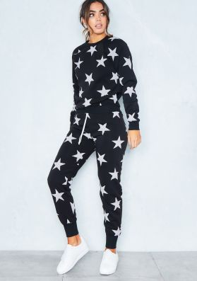 Black And White Star Print Loungewear Tracksuit