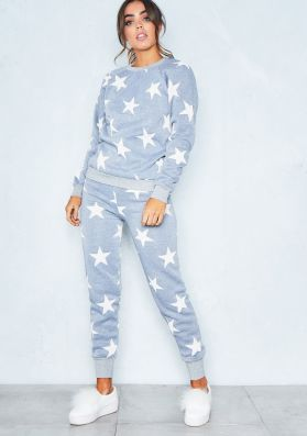 Grey And White Star Print Loungewear Tracksuit