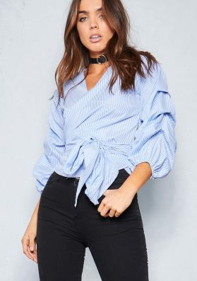 Wendy Light Blue Puff Sleeve Front Tie Top