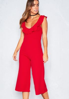 Angela Red Frill Culotte Jumpsuit