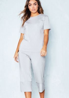 Antonia Grey Pleated Top and Culotte Co-Ord