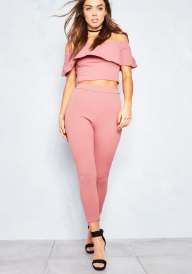 Hayden Dusty Pink Frill Crop Top and Trouser Co Ord