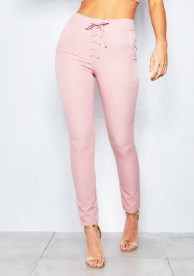 Lucinda Pink Lace Up Trousers