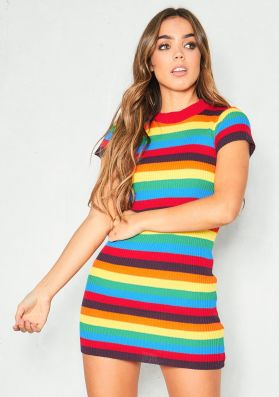Lucy Multicolour Ribbed Knit T-Shirt Dress
