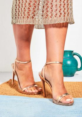 Davina Rose Gold Patent Ankle Strap High Heels