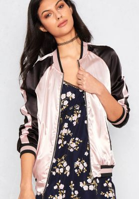 Calypso Pink and Gold Reversible Bomber Jacket