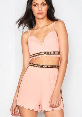 Leonie Pink Frayed Shorts Co-Ord