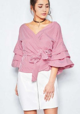 Tallie Red Puff Sleeve Front Tie Top
