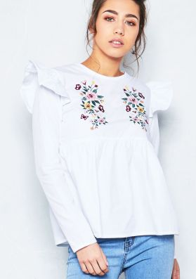Leileni White Embroidered Frill Detail Top