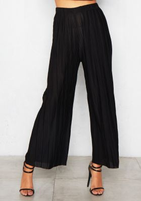 Julia Black Wide Leg Pleated Trousers