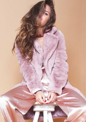 Holly Pink Faux Fur Coat