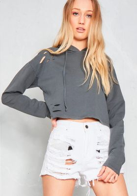 Cassius Charcoal Distressed Cropped Hoodie