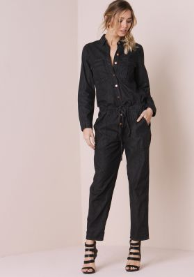 Erika Black Denim Utility Jumpsuit