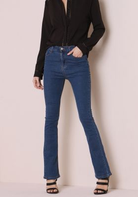 Brittany Blue Denim Mid Rise Flared Jeans
