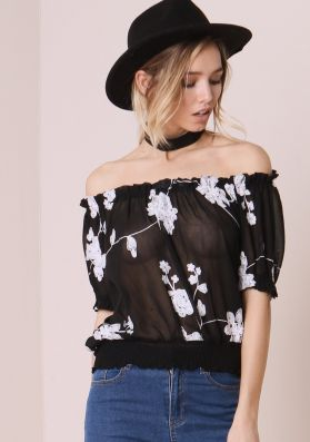 Alessandra Black Floral Embroided Bardot Top