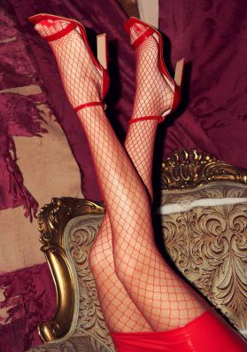 Neda Red Large Fishnet Tights
