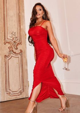 Daphne Red Ruched Detail Maxi Dress