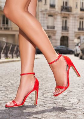 Ashlee Red Patent Squared Heels