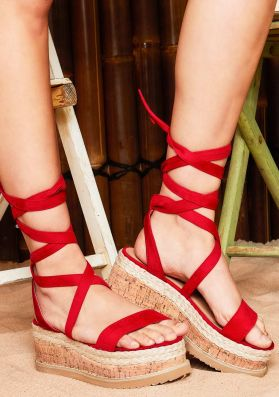 Jolene Red Suede Tie Up Espadrille Flatform Sandals