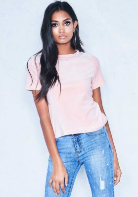 Daisy Pink Velour Pearl Neck T-Shirt