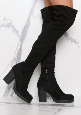Odette Black Suede Thigh High Heeled Boots