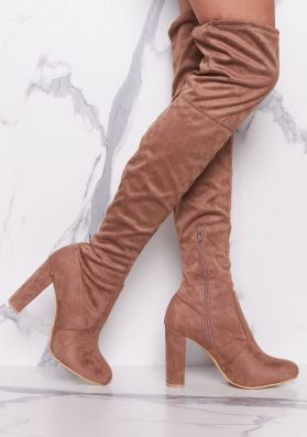 Lolita Mocha Suede Thigh High Heeled Boots