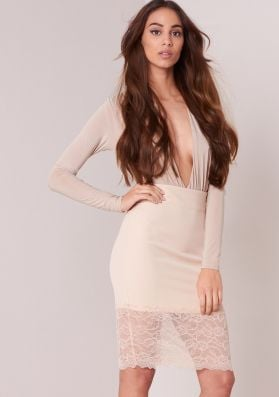 Tutti Beige Lace Hem Bodycon Midi Skirt