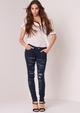Tove Blue Low Rise Ripped Skinny Jeans