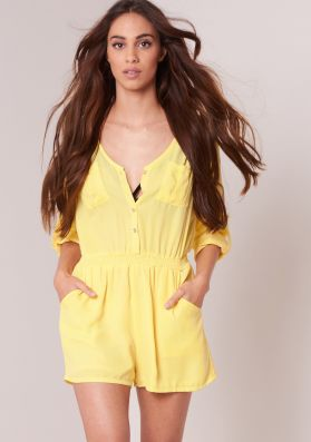 Sadie Yellow Long Sleeved Button Up Playsuit