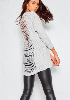 Ceri Grey Extreme Distress Knitted Jumper