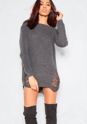 Ayana Charcoal Wide Neck Distressed Knitted Jumper Dress