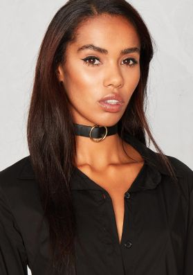 Adriana Black Leather Gold Ring Detail Choker