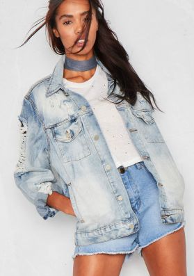 Derry Blue Denim Ripped Distressed Oversized Jacket