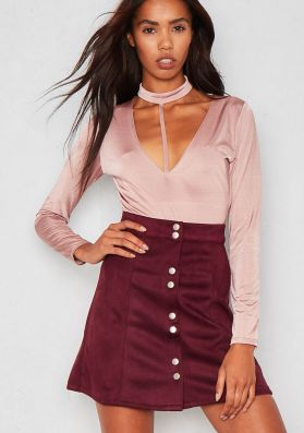 Kendra Wine Faux Suede Button Up Mini Skirt