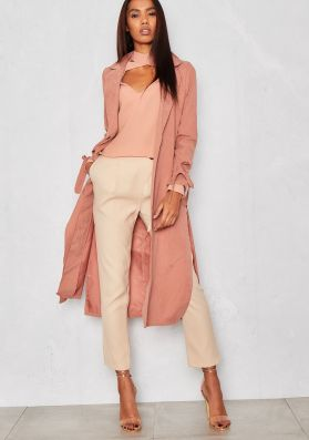 Kate Pink Faux Suede Duster Jacket
