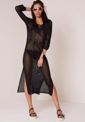 Olly Black Lace Up Loose Knit Midi Dress