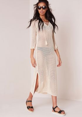 Olly Beige Lace Up Loose Knit Midi Dress
