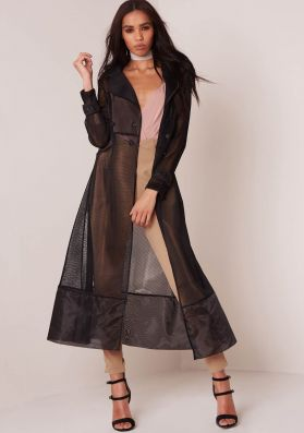 Kacey Black Mesh Trench Coat
