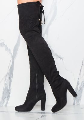 Reily Black Faux Suede Thigh High Boots