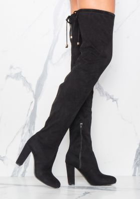 Hedi Black Faux Suede Over The Knee Boots
