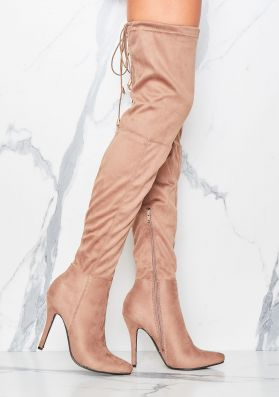 Brittney Mocha Faux Suede Thigh High Heeled Boots