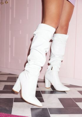 Amelia White Faux Leather Gathered Knee High Boots