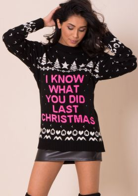 Black I Know What You Did Last Christmas Jumper