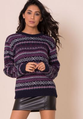 Mary Jo Navy And Pink Print Knitted Jumper