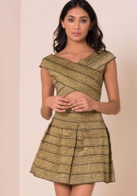 Estelle Gold Metallic Bandage Co-ord