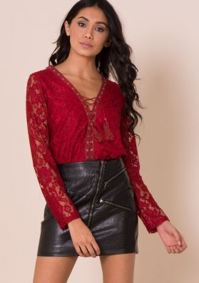 Sascha Wine Lace Lace Up Top