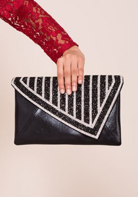 Rio Black And Silver Glitter Clutch Bag